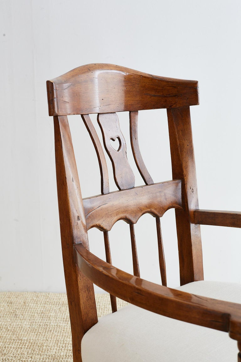 19th Century Country French Carved Fruitwood Armchair For Sale 7