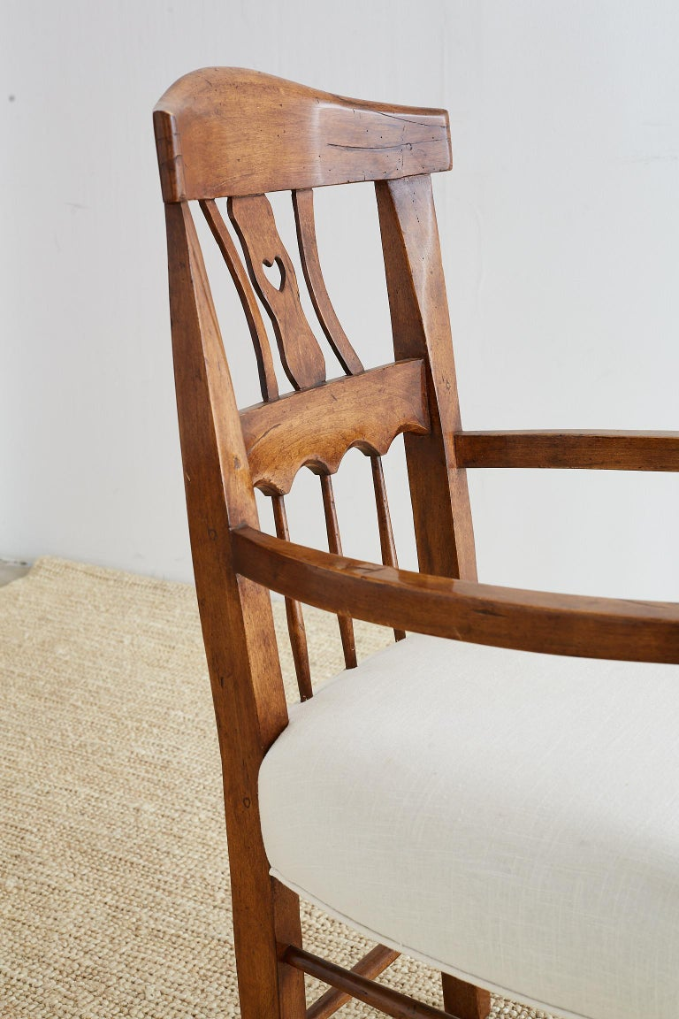 19th Century Country French Carved Fruitwood Armchair For Sale 9