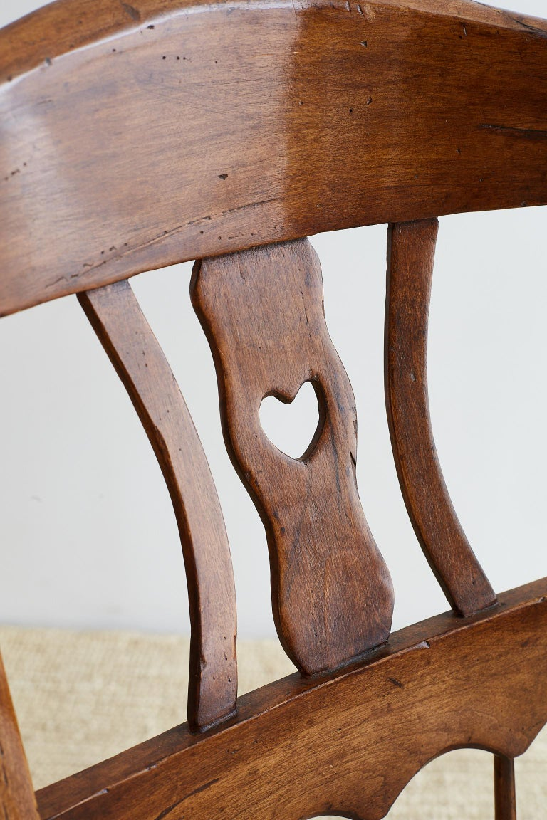 19th Century Country French Carved Fruitwood Armchair For Sale 11
