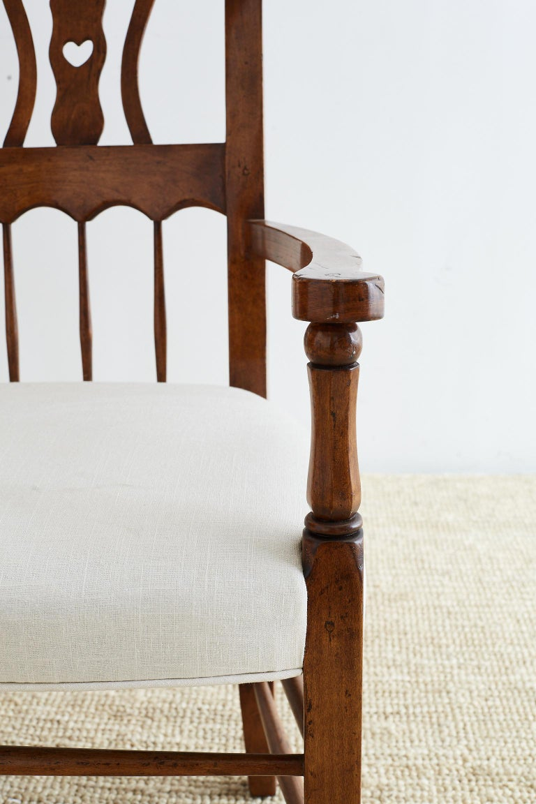 19th Century Country French Carved Fruitwood Armchair For Sale 13