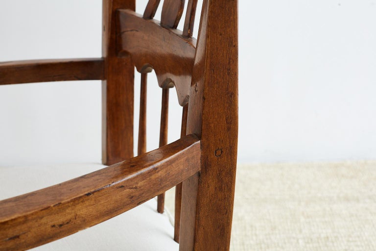 19th Century Country French Carved Fruitwood Armchair For Sale 16