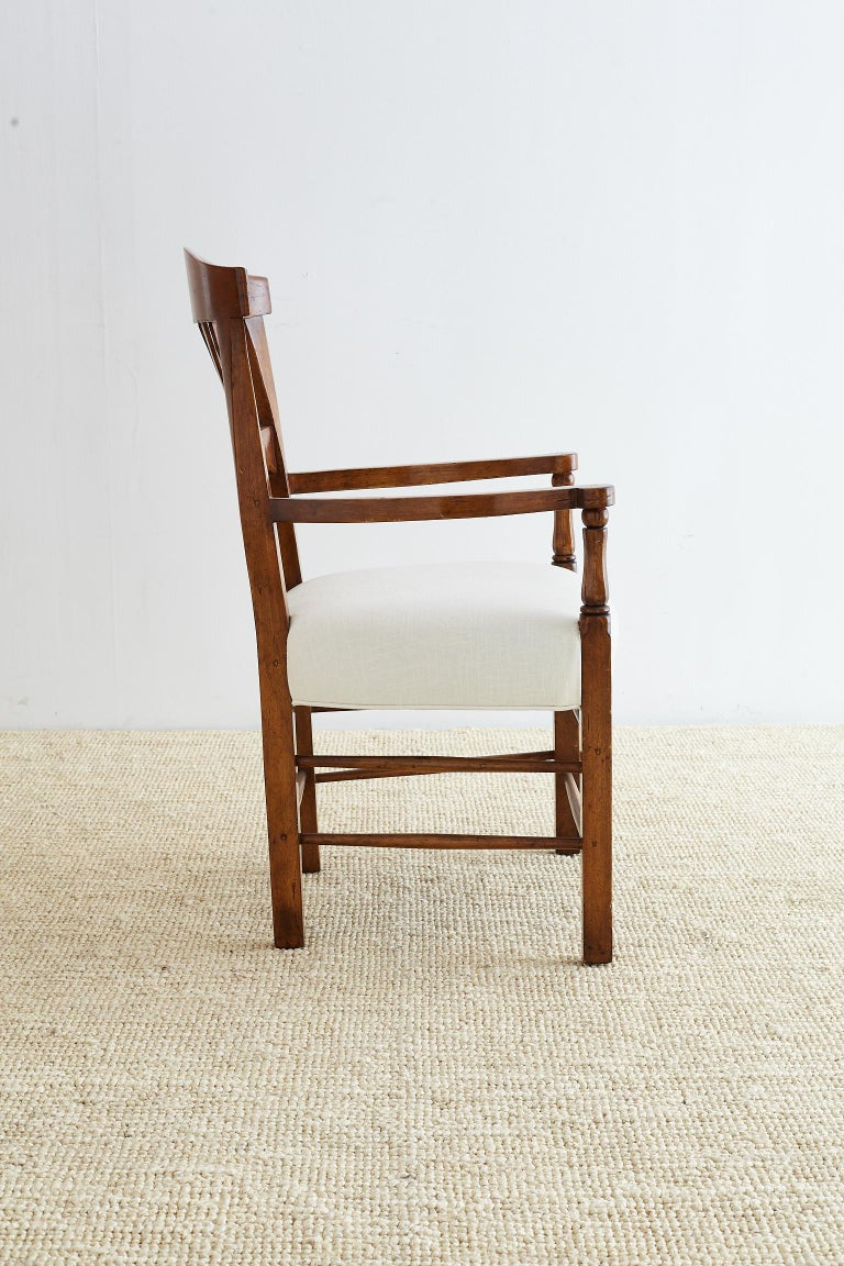 Hand-Carved 19th Century Country French Carved Fruitwood Armchair For Sale
