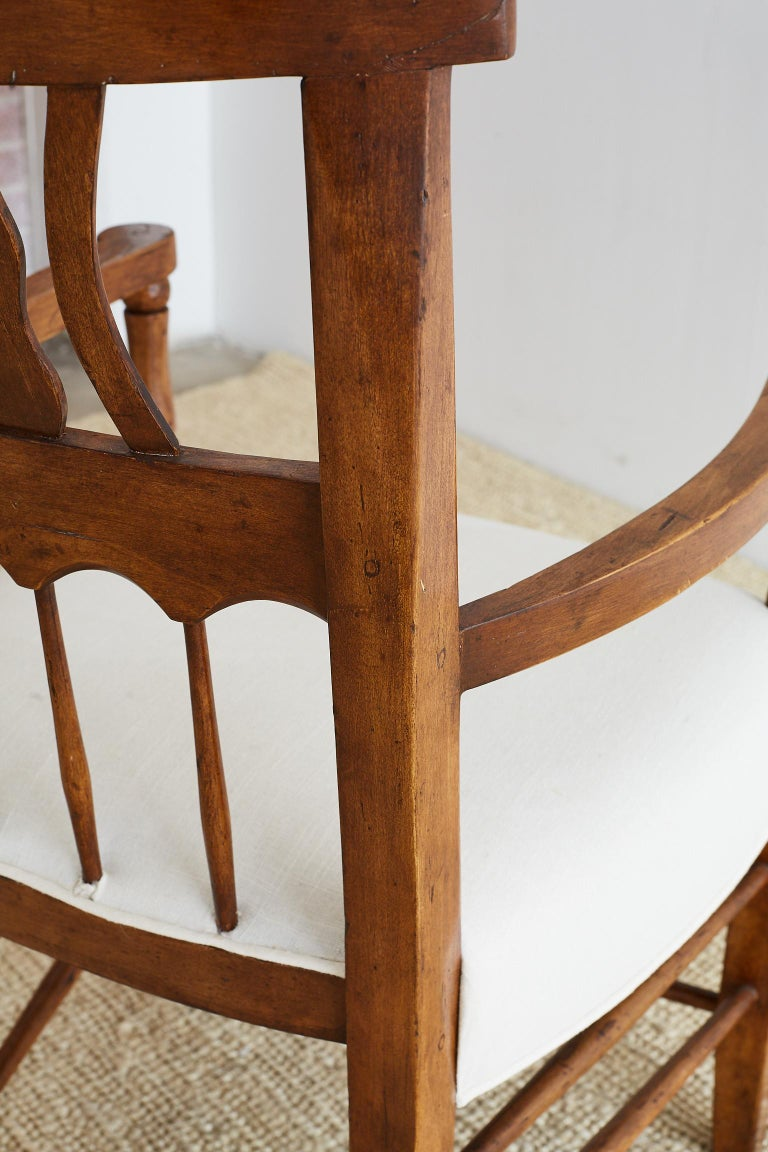 19th Century Country French Carved Fruitwood Armchair For Sale 3