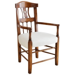 19th Century Country French Carved Fruitwood Armchair