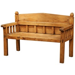 19th Century Country French Carved Pine Bench with Back from the Pyrenees