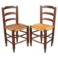 19th Century Country French Child's Chairs, a Pair
