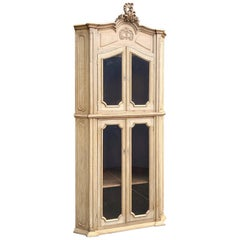 19th Century Country French Corner Bookcase, Vitrine