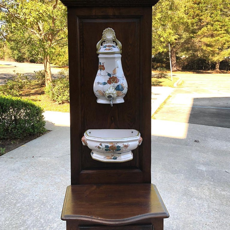 French Provincial 19th Century Country French Fountain with Porcelain Reservoir and Basin For Sale