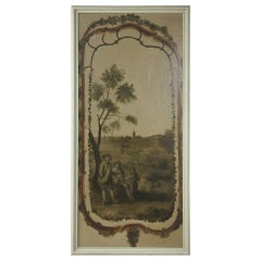 19th Century Country French Framed Painted Wall Panel