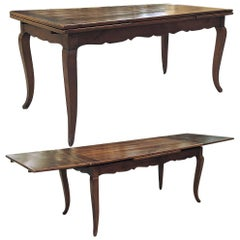 19th Century Country French Fruitwood Draw Leaf Dining Table