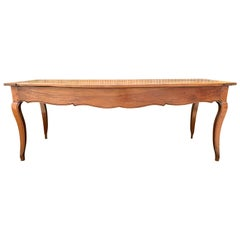 19th Century Country French Fruitwood Farm Table with Two Drawers