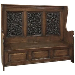 19th Century Country French Hall Bench with Carved Panels