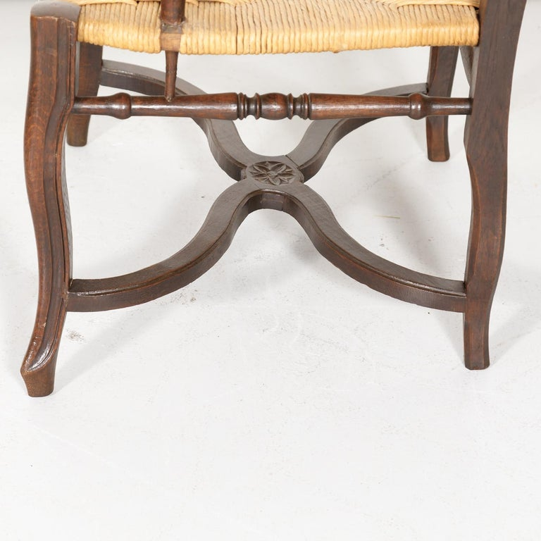 19th Century Country French Hand Carved Oak Rush Seat Armchair For Sale 9