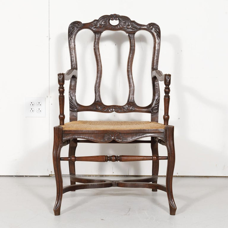 19th Century Country French Hand Carved Oak Rush Seat Armchair In Good Condition For Sale In Birmingham, AL