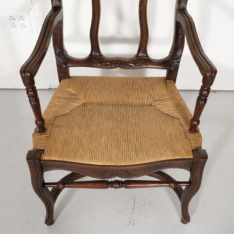 19th Century Country French Hand Carved Oak Rush Seat Armchair For Sale 1