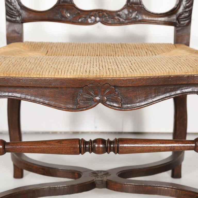 19th Century Country French Hand Carved Oak Rush Seat Armchair For Sale 2