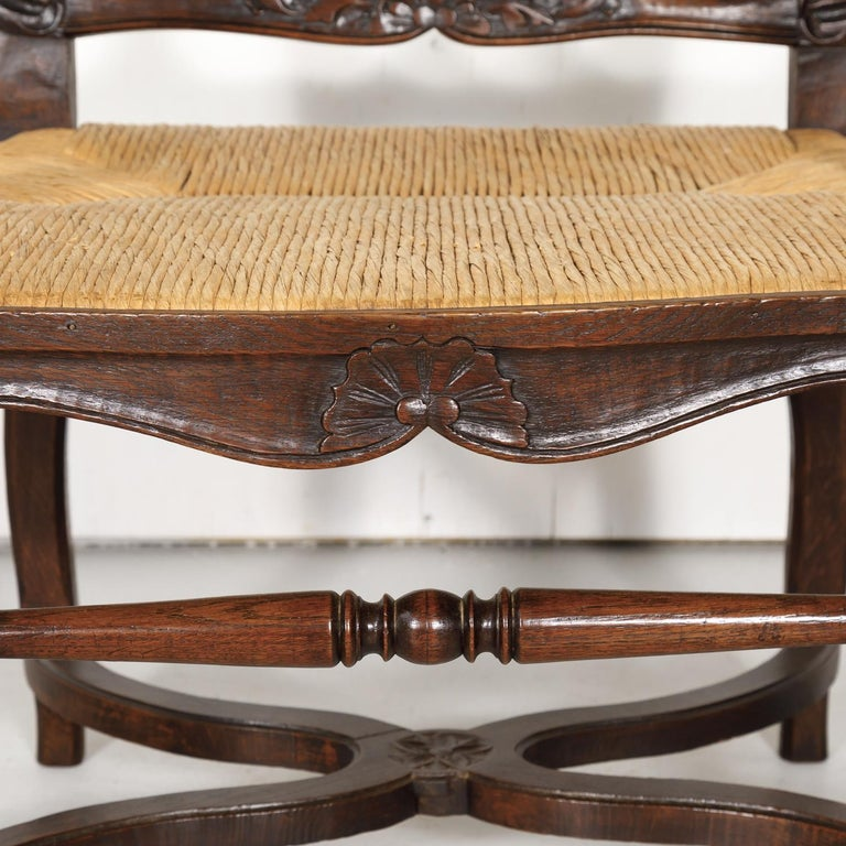19th Century Country French Hand Carved Oak Rush Seat Armchair For Sale 3