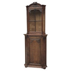 19th Century Country French Louis XIV Corner Cabinet, Vitrine