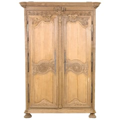19th Century Country French Louis XIV Style Bleached Normandy Wedding Armoire