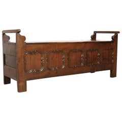 19th Century Country French Louis XIV Style Hall or Window Bench with Storage