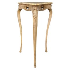 19th Century Country French Louis XV Marble-Top Triangular Lamp Table, Pedestal