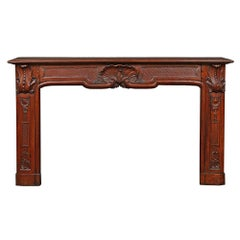 19th Century Country French Louis XV Style Hand Carved Oak Mantel
