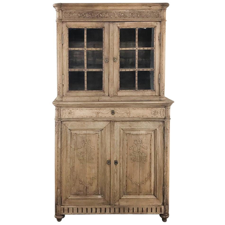 19th Century Country French Louis XVI Stripped Vitrine Cabinet