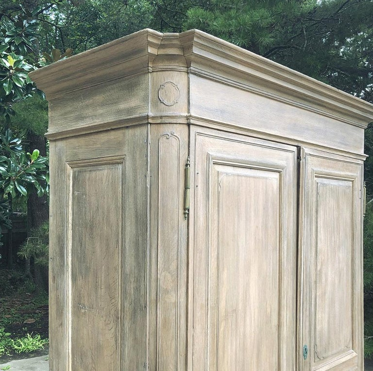 19th Century Country French Neoclassical Whitewashed Armoire For Sale 5