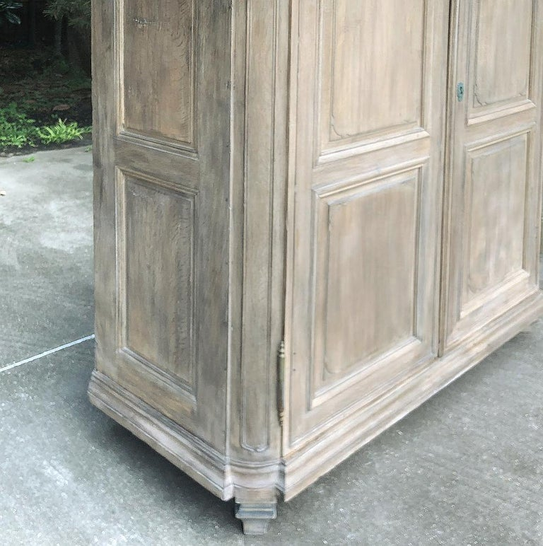 19th Century Country French Neoclassical Whitewashed Armoire For Sale 6