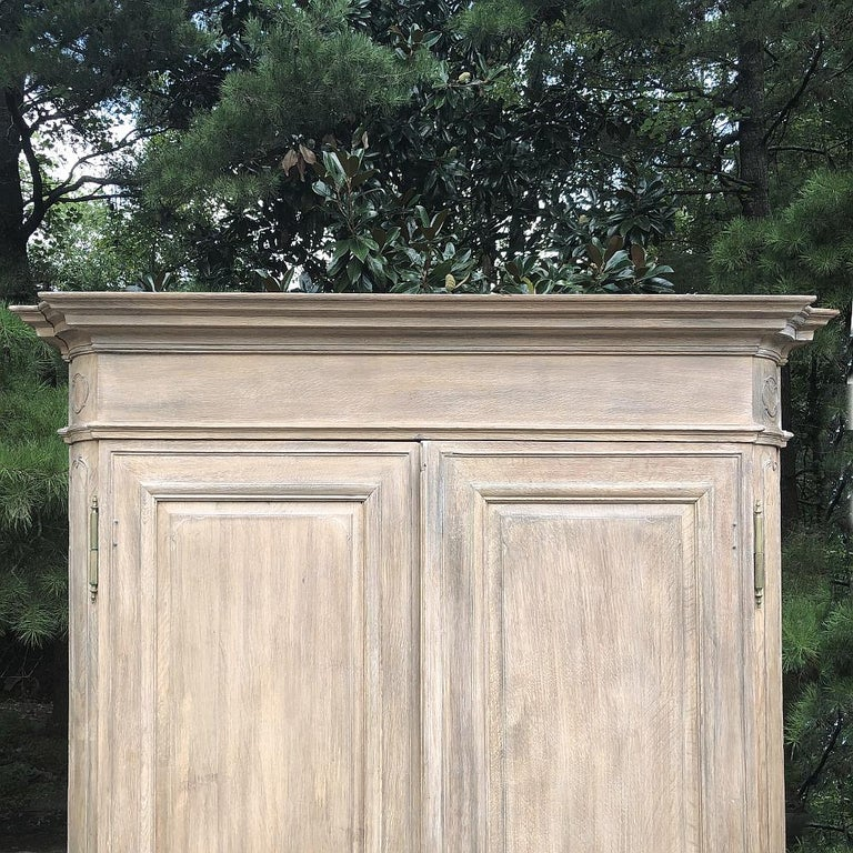 Brass 19th Century Country French Neoclassical Whitewashed Armoire For Sale