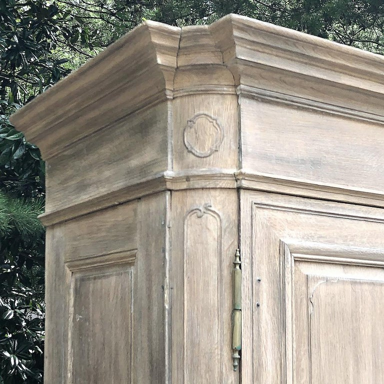 19th Century Country French Neoclassical Whitewashed Armoire For Sale 1