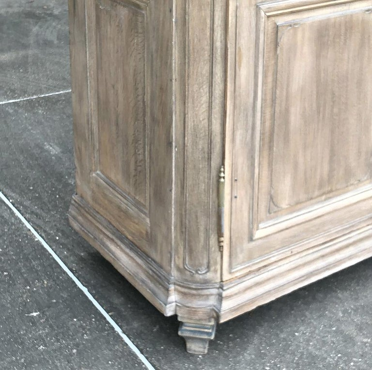 19th Century Country French Neoclassical Whitewashed Armoire For Sale 2