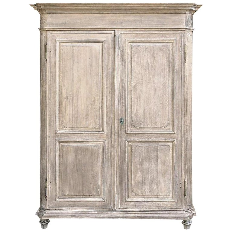 19th Century Country French Neoclassical Whitewashed Armoire For Sale