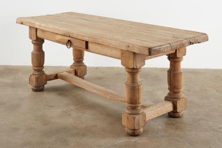 19th Century Country French Oak Farmhouse Trestle Dining Table For Sale 5