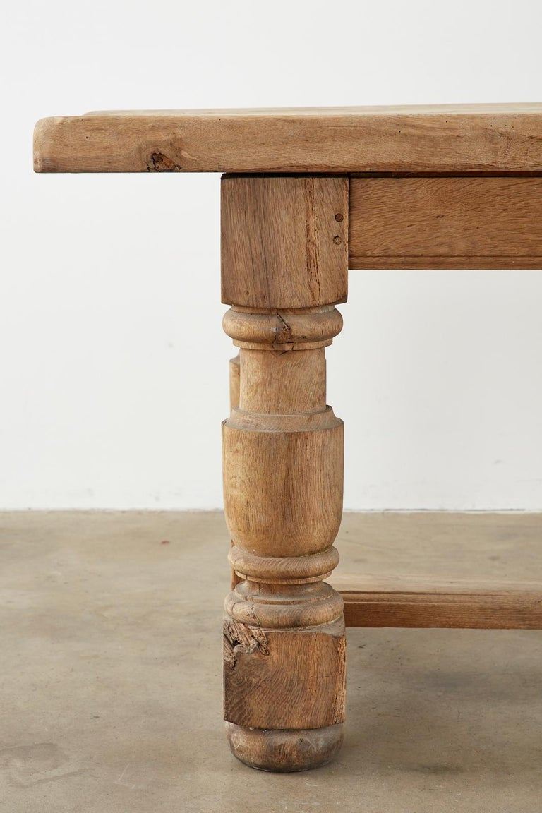 19th Century Country French Oak Farmhouse Trestle Dining Table For Sale 6