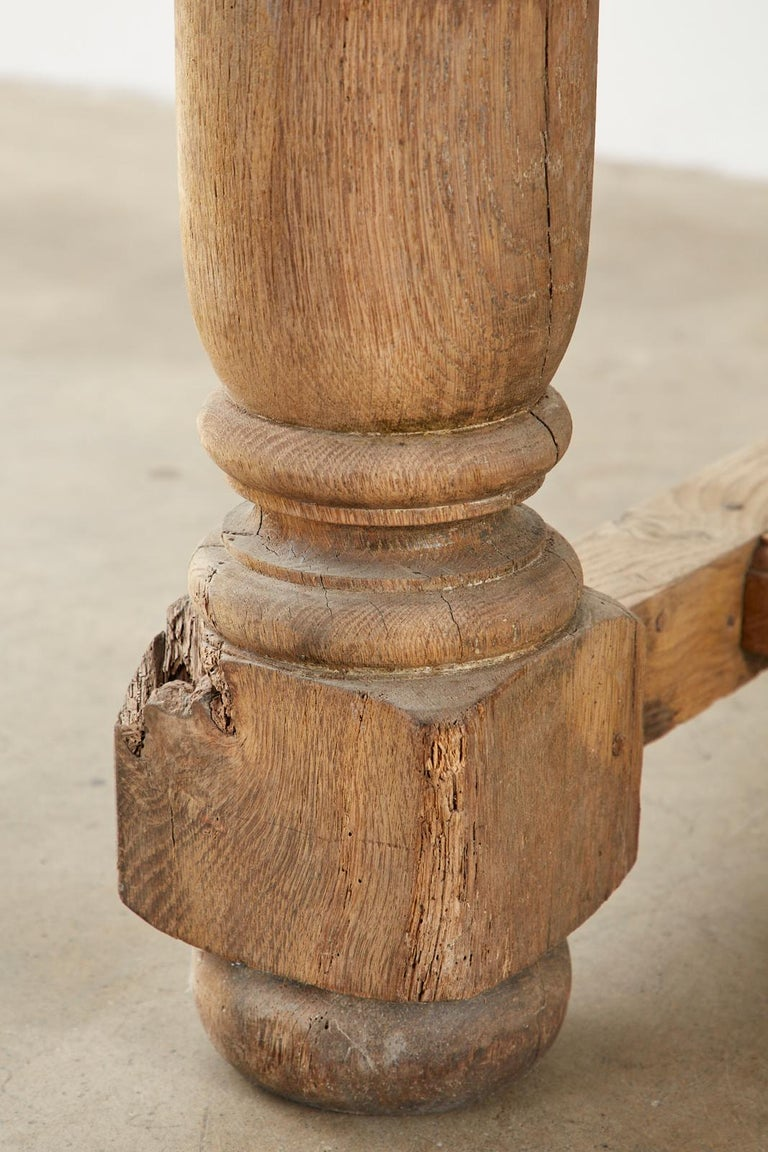 19th Century Country French Oak Farmhouse Trestle Dining Table For Sale 8
