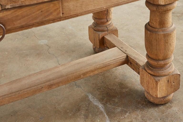 19th Century Country French Oak Farmhouse Trestle Dining Table For Sale 10