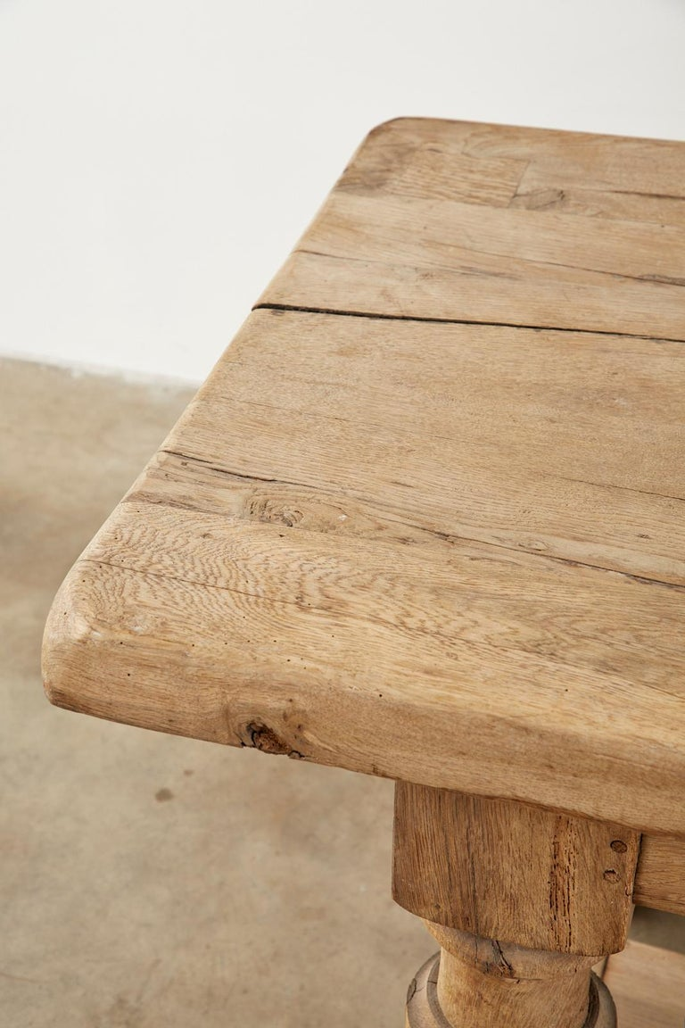 19th Century Country French Oak Farmhouse Trestle Dining Table For Sale 11