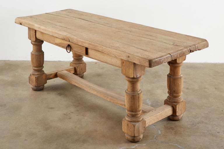 Hand-Crafted 19th Century Country French Oak Farmhouse Trestle Dining Table For Sale