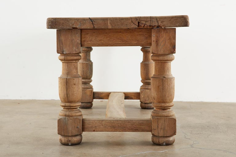 19th Century Country French Oak Farmhouse Trestle Dining Table In Distressed Condition For Sale In Rio Vista, CA
