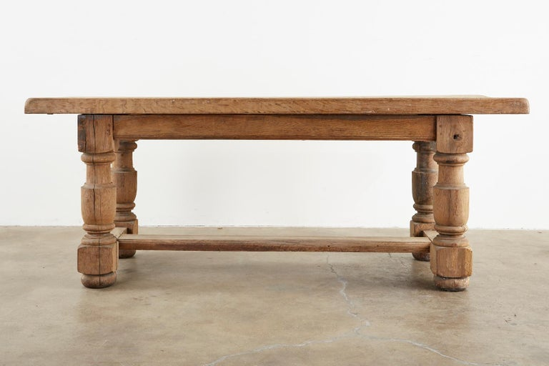 19th Century Country French Oak Farmhouse Trestle Dining Table For Sale 2