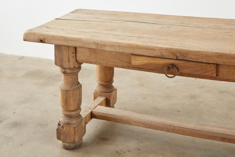 19th Century Country French Oak Farmhouse Trestle Dining Table For Sale 3