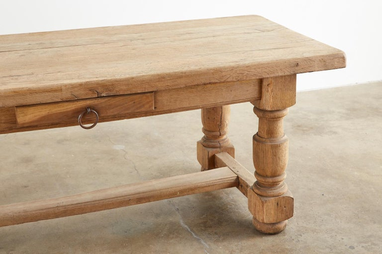 19th Century Country French Oak Farmhouse Trestle Dining Table For Sale 4