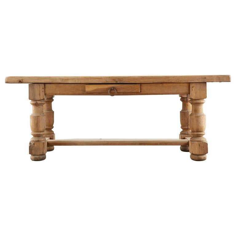19th Century Country French Oak Farmhouse Trestle Dining Table For Sale