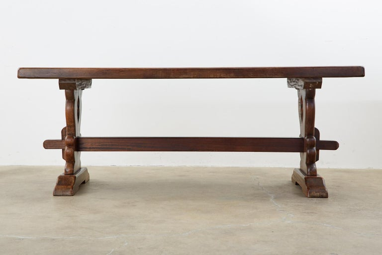 19th Century Country French Oak Farmhouse Trestle Dining Table For Sale 13