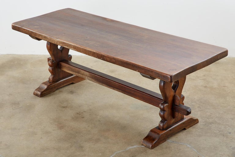 Rustic 19th Century Country French Oak Farmhouse Trestle Dining Table For Sale