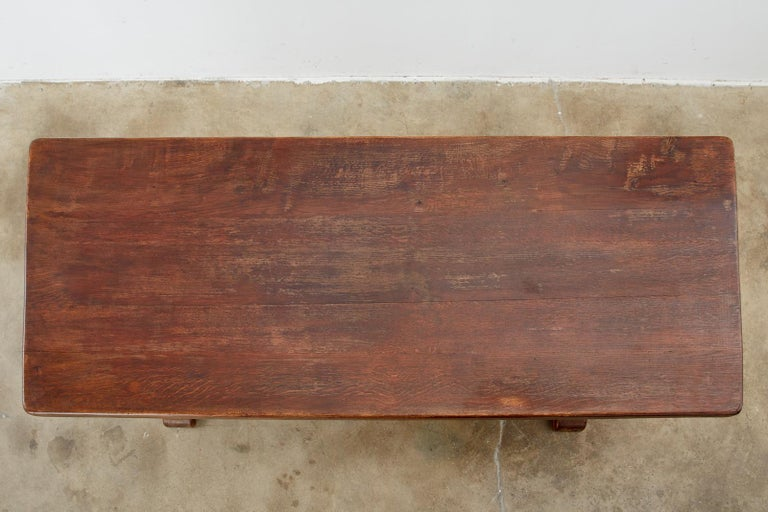 19th Century Country French Oak Farmhouse Trestle Dining Table In Good Condition For Sale In Rio Vista, CA