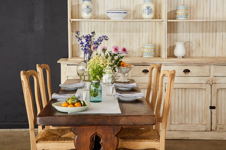 Metal 19th Century Country French Oak Farmhouse Trestle Dining Table For Sale