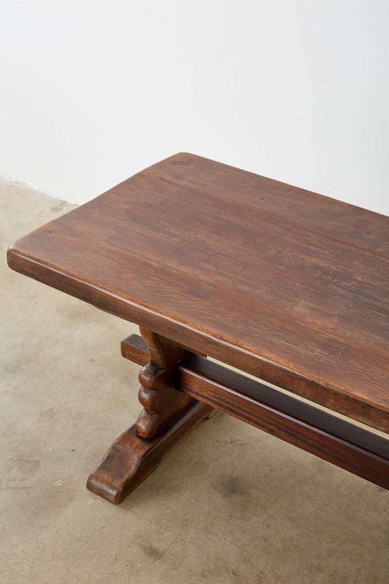 19th Century Country French Oak Farmhouse Trestle Dining Table For Sale 1