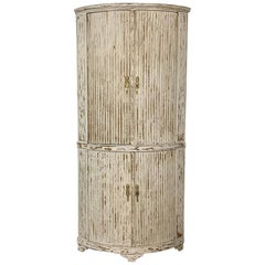 19th Century Country French Painted 2-Tiered Corner Cabinet